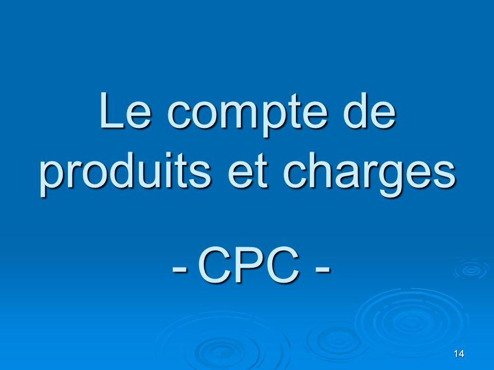 Le compte de produits et charges - CPC -