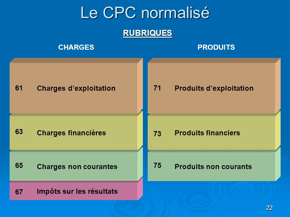 Le CPC normalisé RUBRIQUES CHARGES PRODUITS Charges d'exploitation