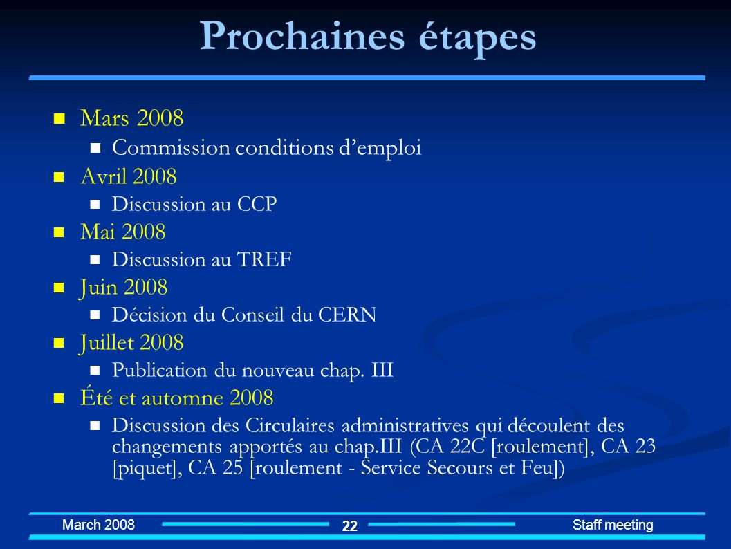 Prochaines étapes Mars 2008 Commission conditions d'emploi Avril 2008