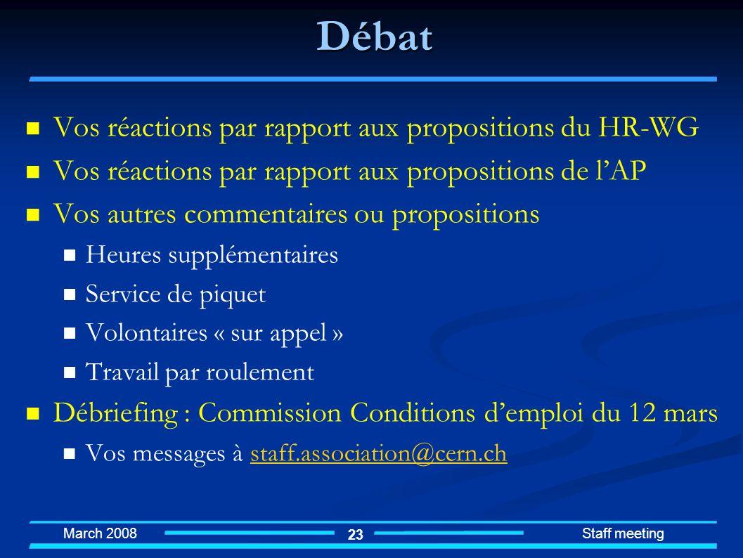 Débat Vos réactions par rapport aux propositions du HR-WG