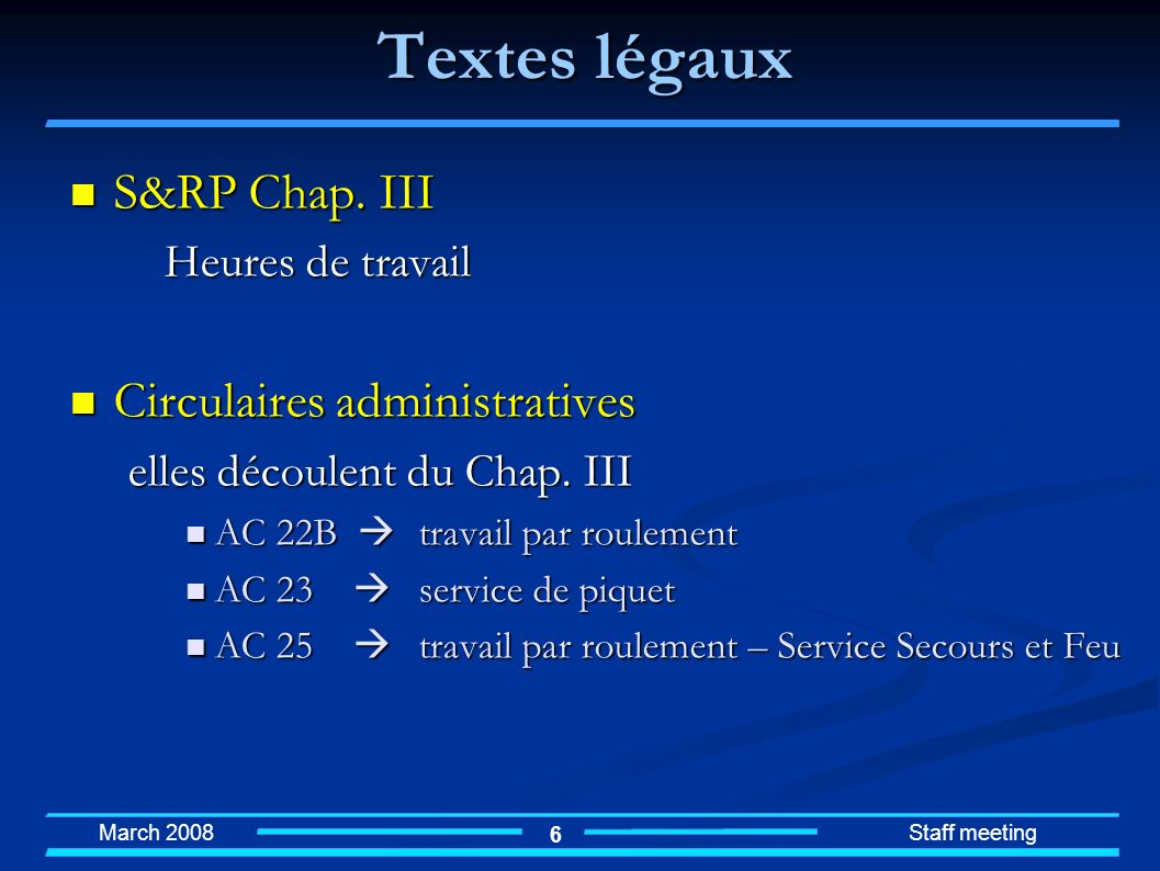 Textes légaux S&RP Chap. III Circulaires administratives