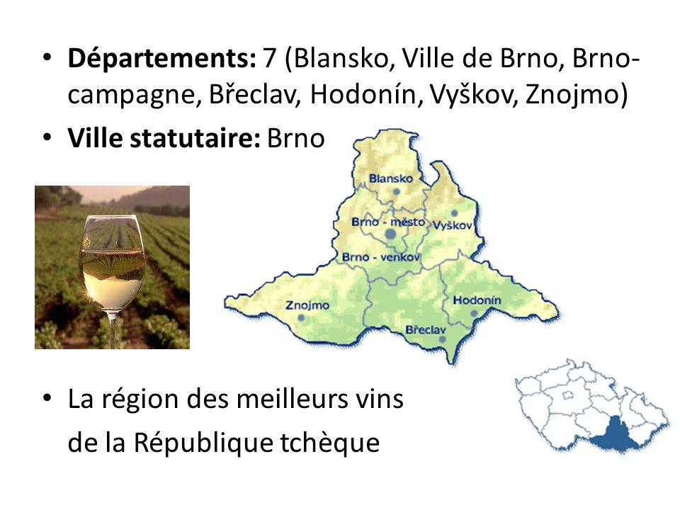 Départements: 7 (Blansko, Ville de Brno, Brno-campagne, Břeclav, Hodonín, Vyškov, Znojmo)