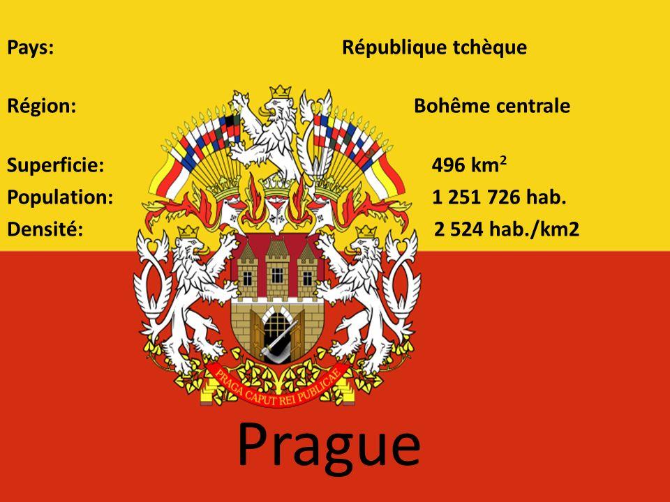 Pays: République tchèque Région: Bohême centrale Superficie: 496 km2 Population: 1 251 726 hab. Densité: 2 524 hab./km2