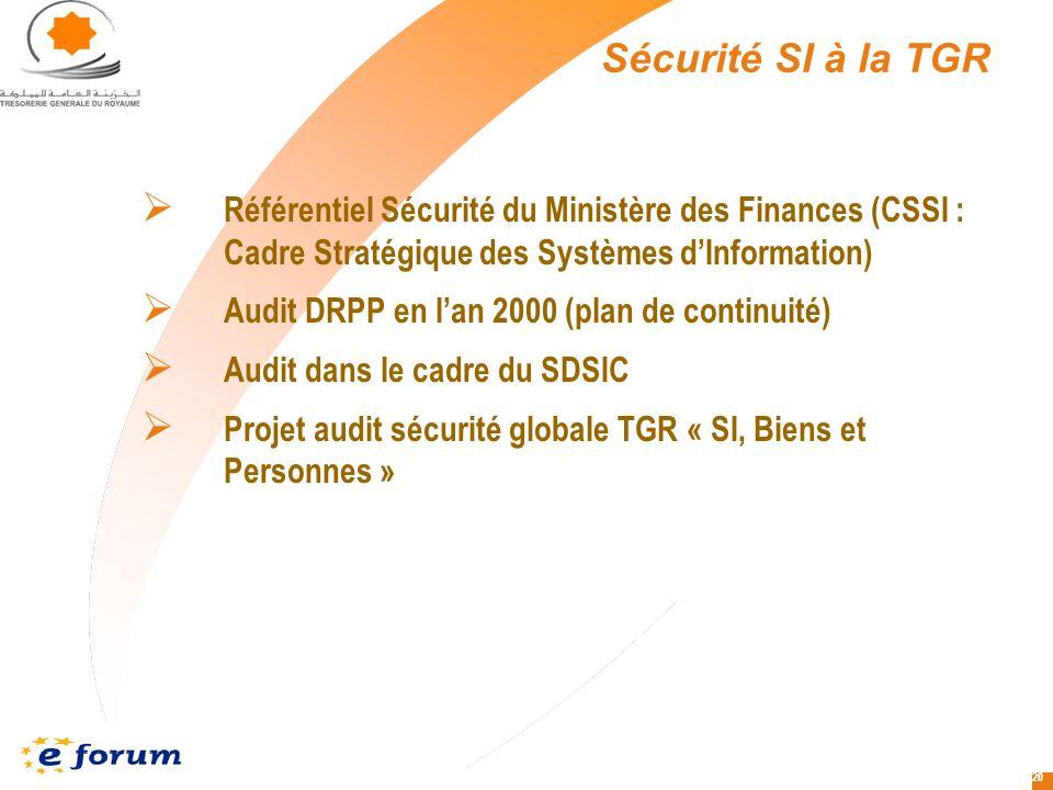 Sécurité SI à la TGR Référentiel Sécurité du Ministère des Finances (CSSI : Cadre Stratégique des Systèmes d'Information)