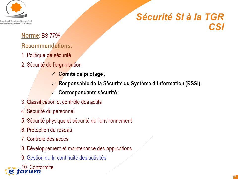 Sécurité SI à la TGR CSI Norme: BS 7799 Recommandations:
