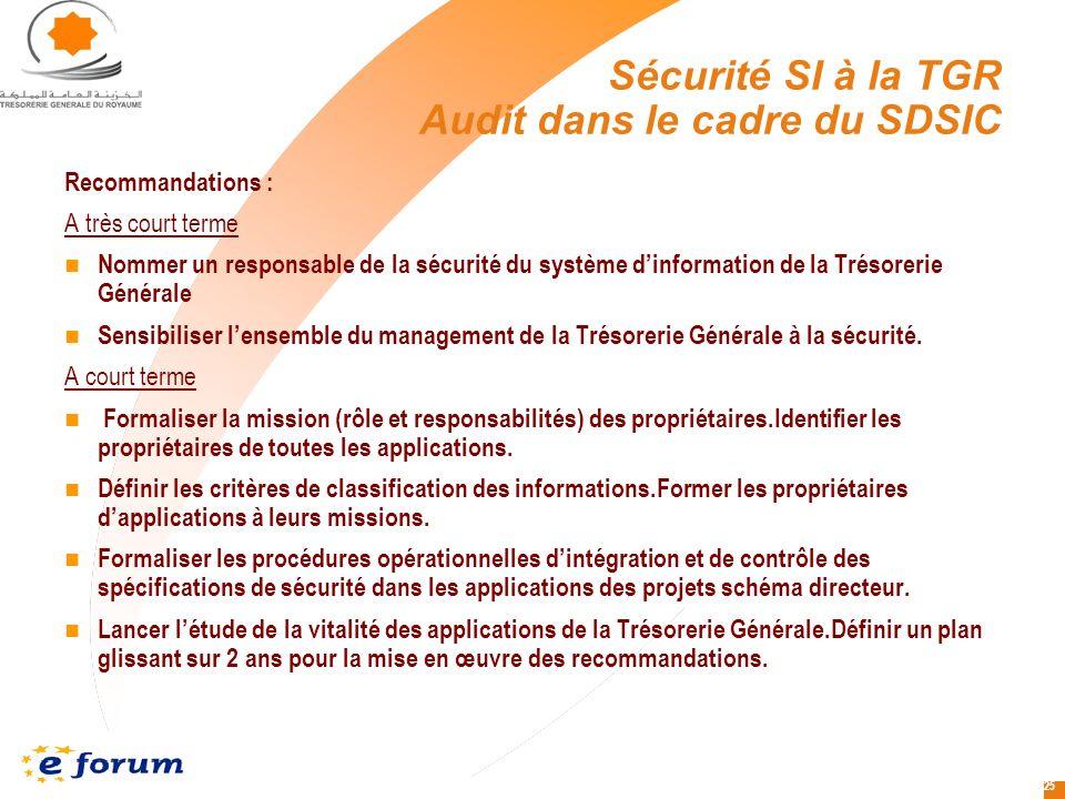 Sécurité SI à la TGR Audit dans le cadre du SDSIC