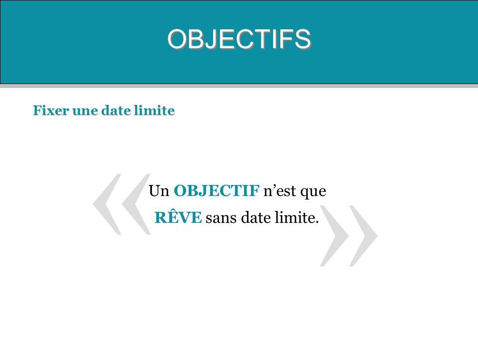 « » OBJECTIFS Un OBJECTIF n'est que RÊVE sans date limite.