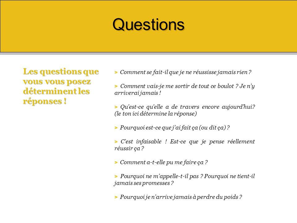Questions Les questions que vous vous posez déterminent les réponses !