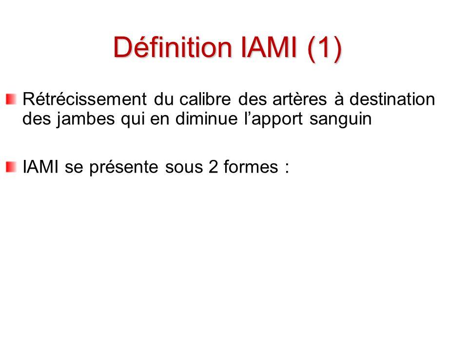Définition IAMI (1) Rétrécissement du calibre des artères à destination des jambes qui en diminue l'apport sanguin.