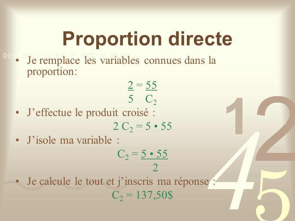 Proportion directe Je remplace les variables connues dans la proportion: 2 = 55. 5 C2. J'effectue le produit croisé :