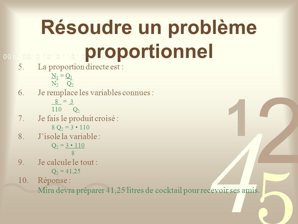 Résoudre un problème proportionnel