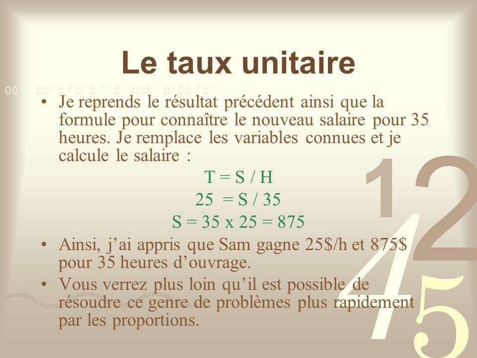 Le taux unitaire