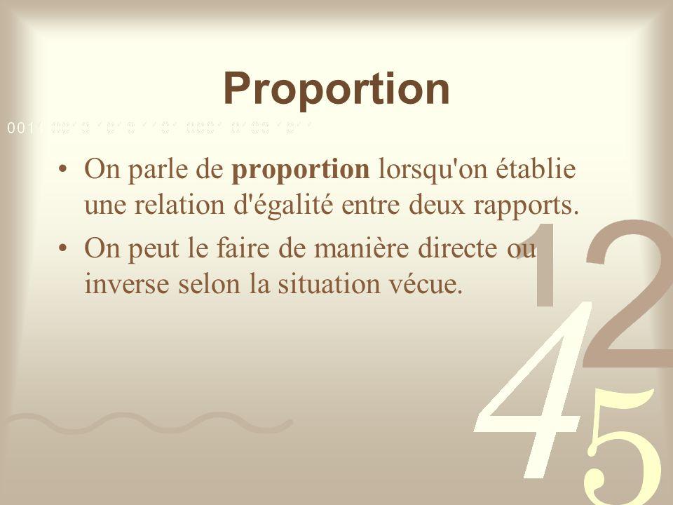 Proportion On parle de proportion lorsqu on établie une relation d égalité entre deux rapports.