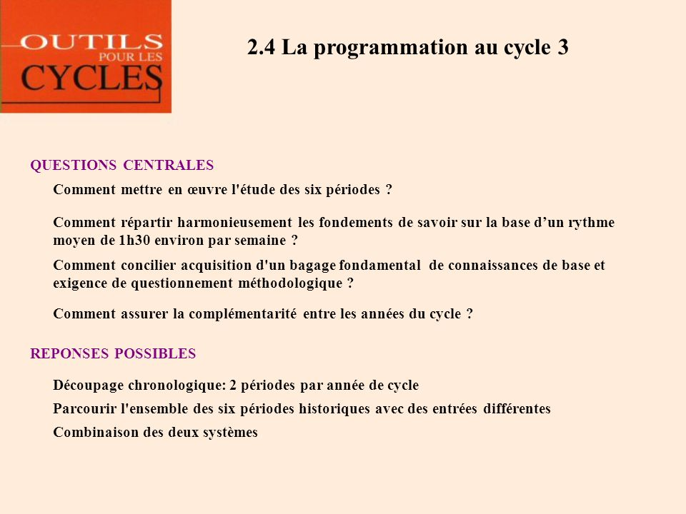 2.4 La programmation au cycle 3