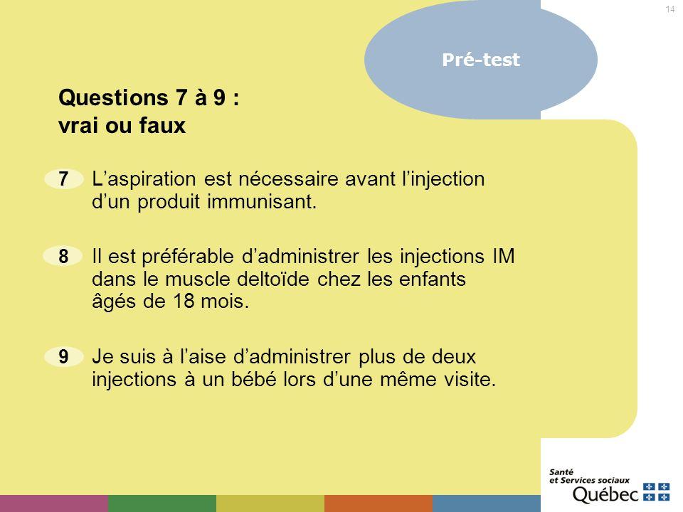 Questions 7 à 9 : vrai ou faux