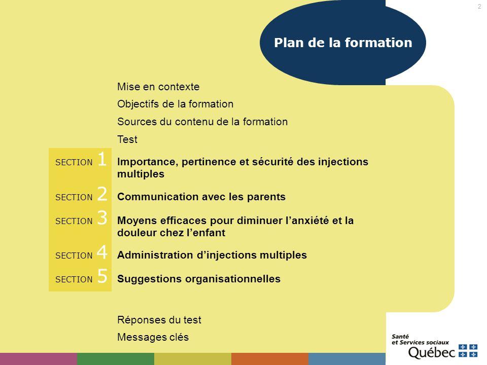 Plan de la formation Mise en contexte Objectifs de la formation