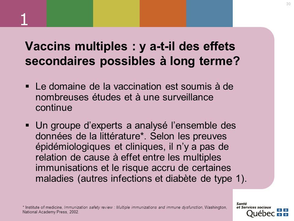 1 Vaccins multiples : y a-t-il des effets secondaires possibles à long terme