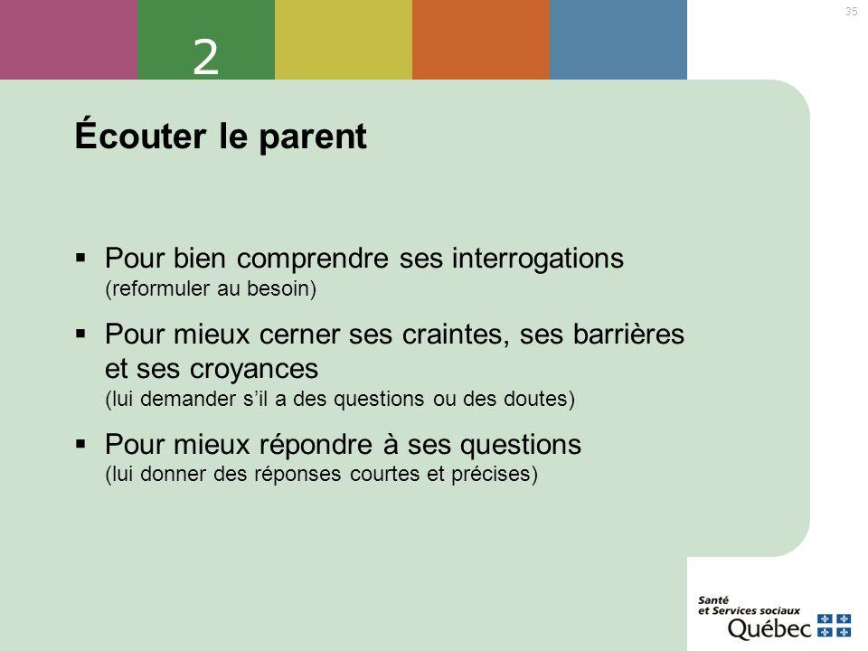 2 Écouter le parent. Pour bien comprendre ses interrogations (reformuler au besoin)