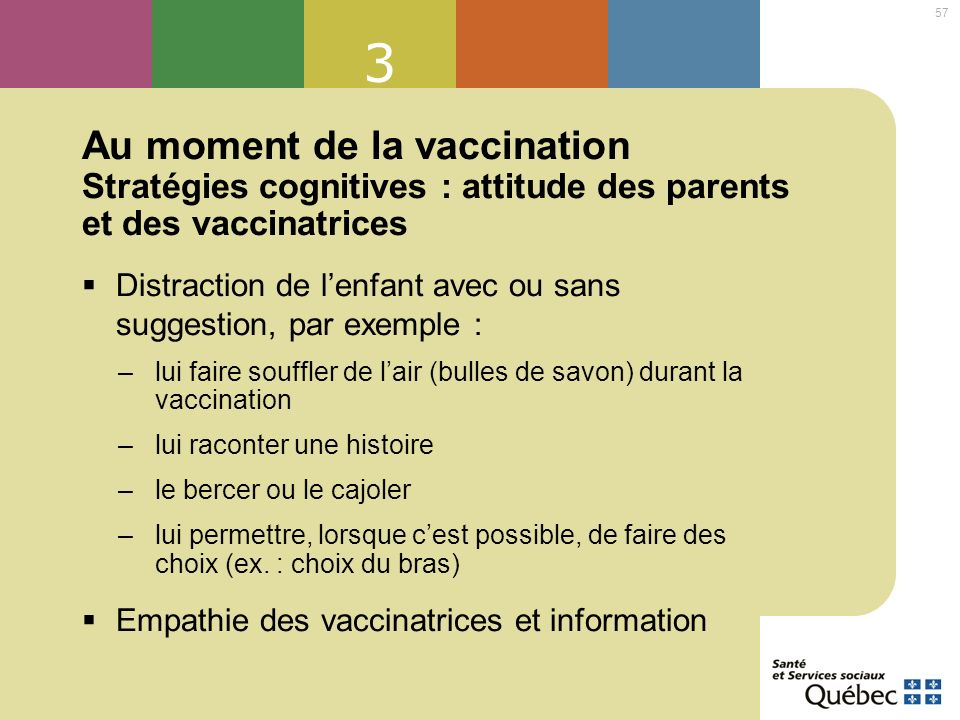 3 Au moment de la vaccination Stratégies cognitives : attitude des parents et des vaccinatrices.