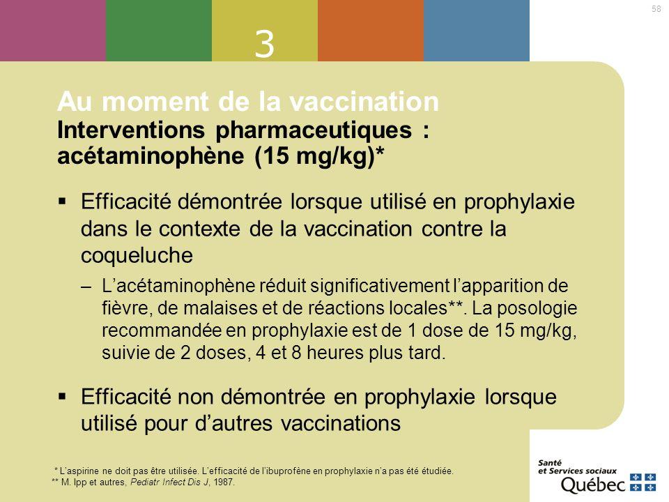 3 Au moment de la vaccination Interventions pharmaceutiques : acétaminophène (15 mg/kg)*