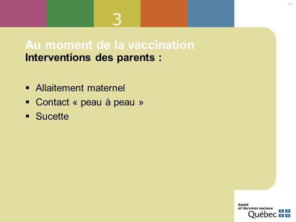 Au moment de la vaccination Interventions des parents :