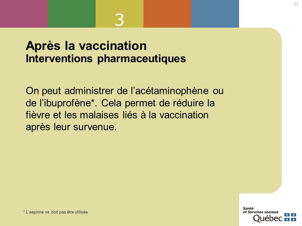 Après la vaccination Interventions pharmaceutiques