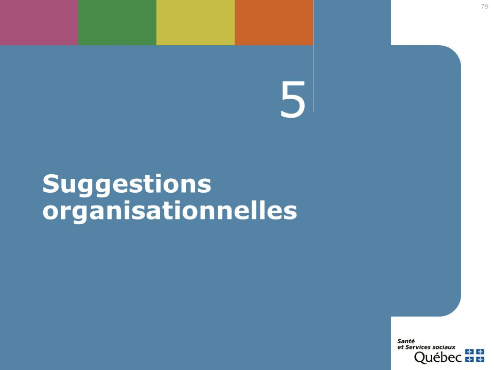Suggestions organisationnelles