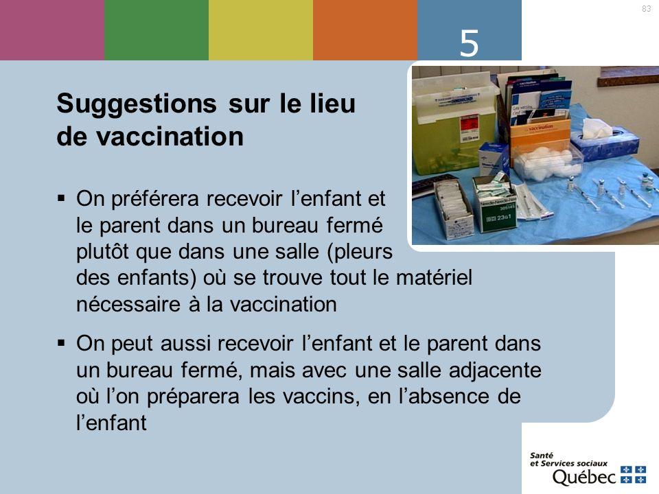 Suggestions sur le lieu de vaccination
