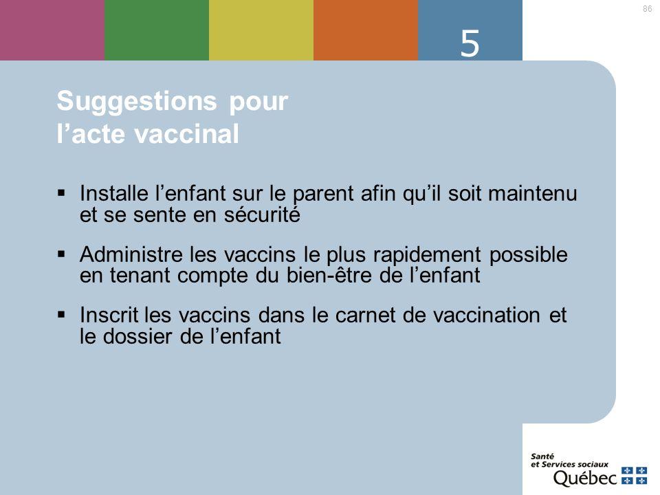 Suggestions pour l'acte vaccinal