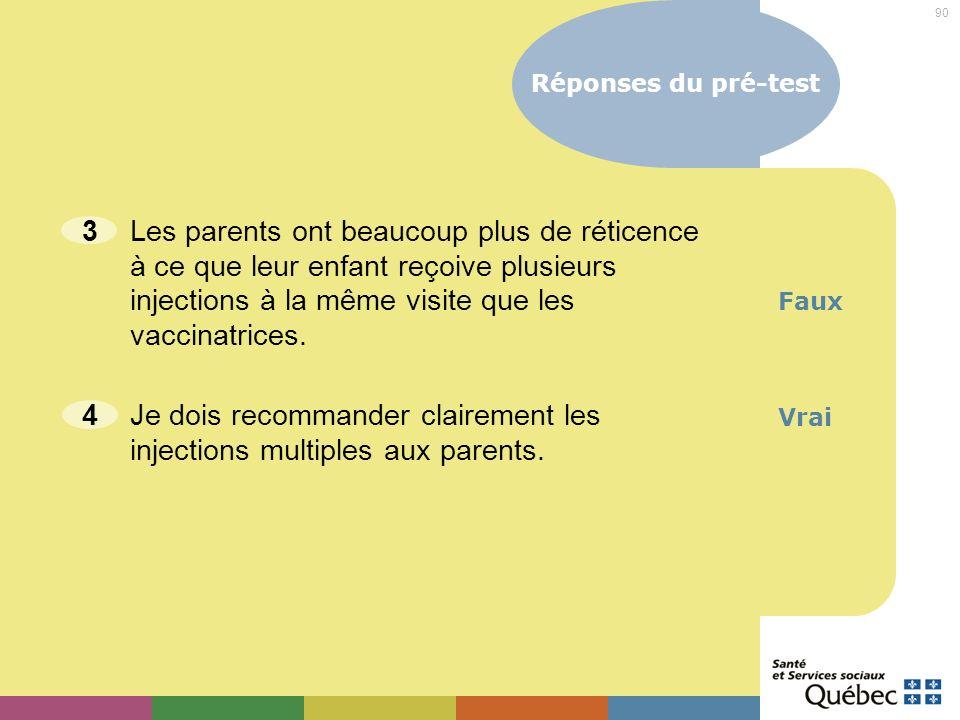 4 Je dois recommander clairement les injections multiples aux parents.