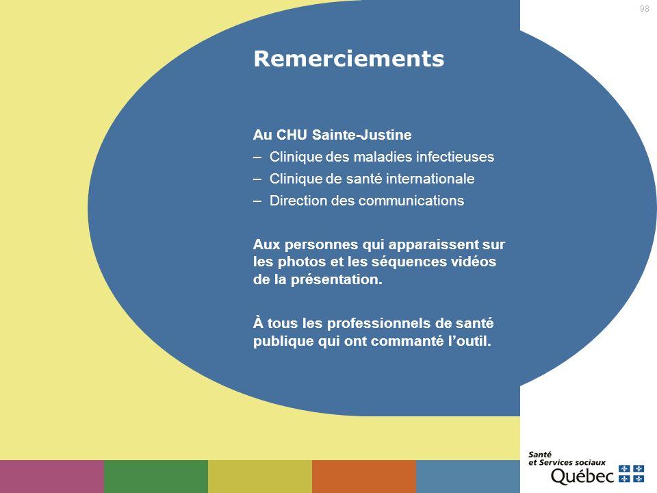 Remerciements Au CHU Sainte-Justine