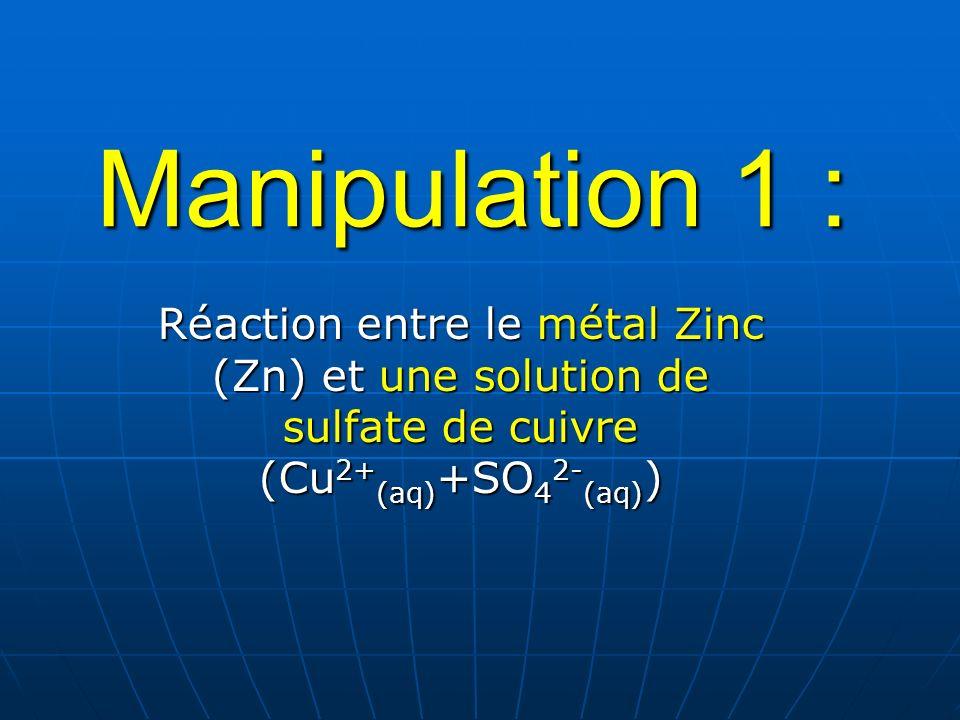 Manipulation 1 : Réaction entre le métal Zinc (Zn) et une solution de sulfate de cuivre (Cu2+(aq)+SO42-(aq))