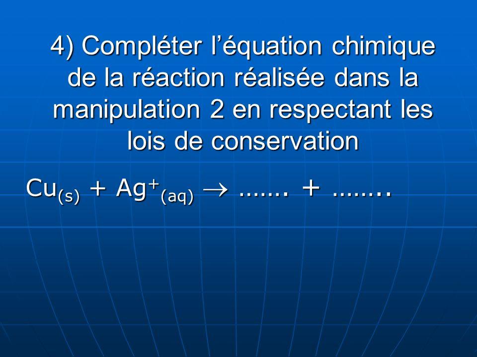 4) Compléter l'équation chimique de la réaction réalisée dans la manipulation 2 en respectant les lois de conservation