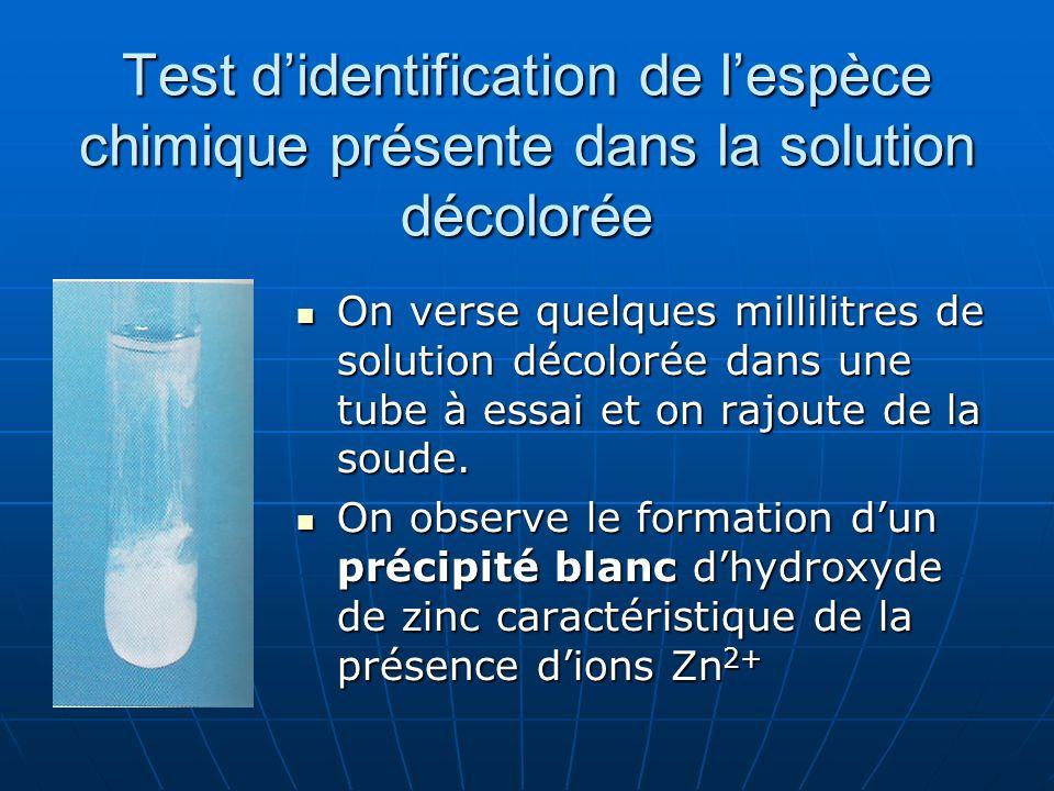 Test d'identification de l'espèce chimique présente dans la solution décolorée