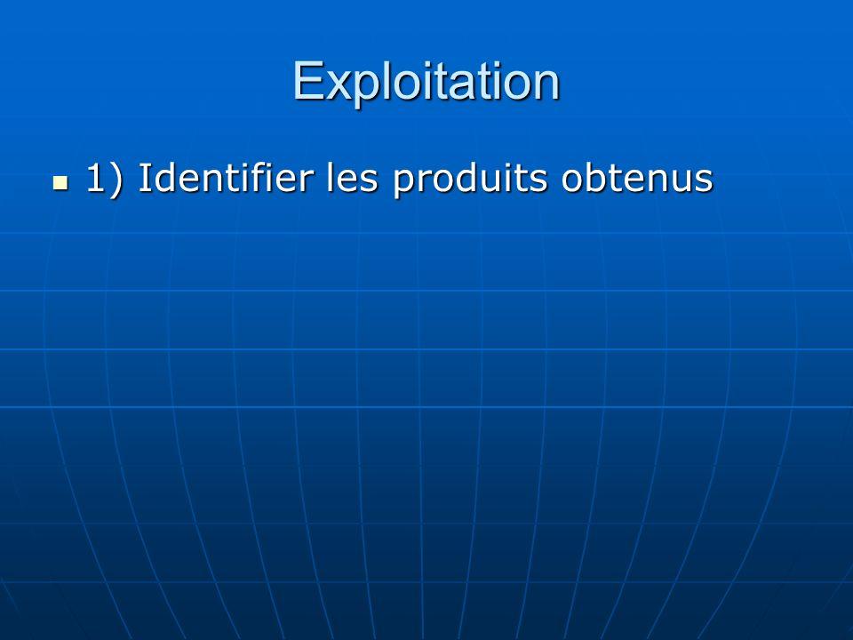 Exploitation 1) Identifier les produits obtenus