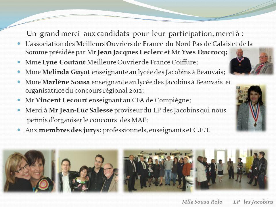 Un grand merci aux candidats pour leur participation, merci à :