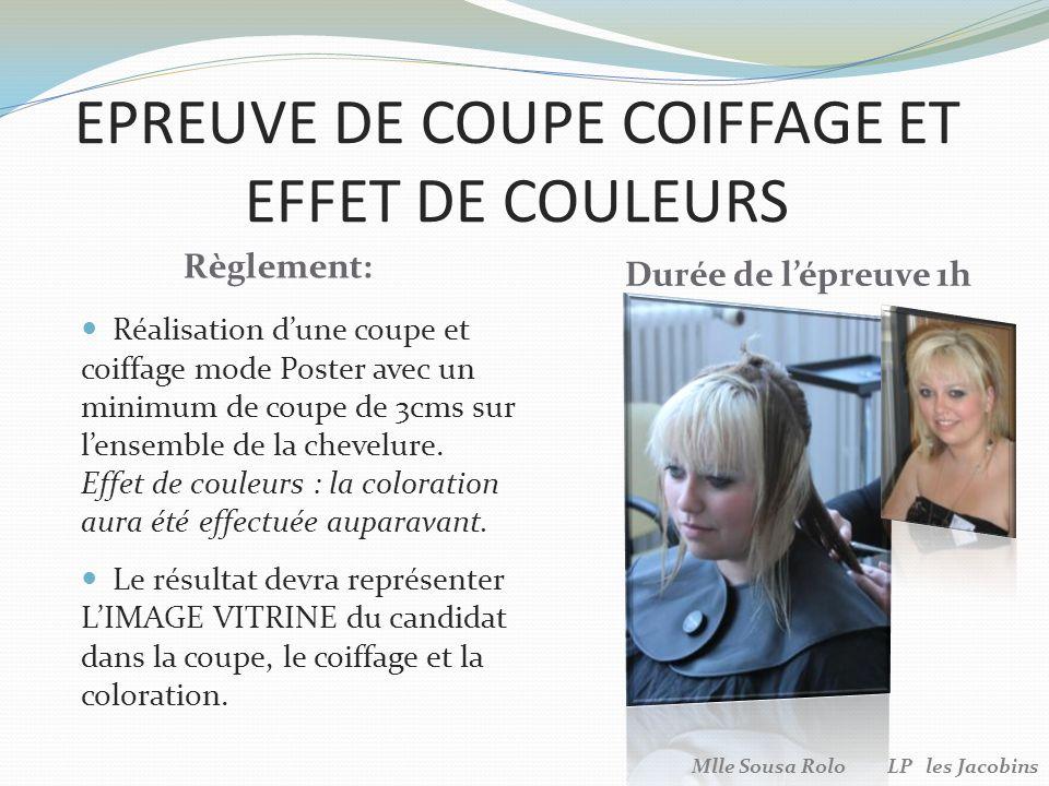 EPREUVE DE COUPE COIFFAGE ET EFFET DE COULEURS