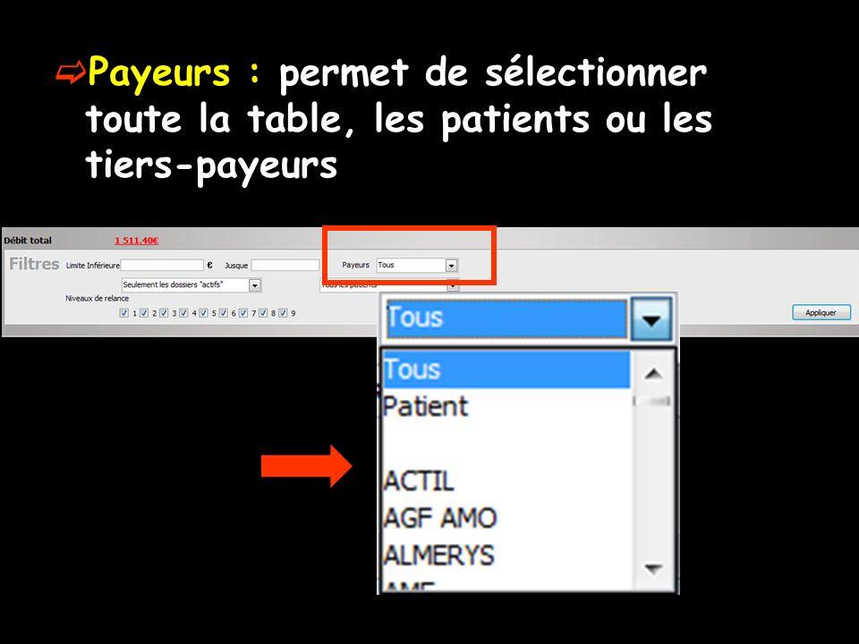 Payeurs : permet de sélectionner toute la table, les patients ou les tiers-payeurs