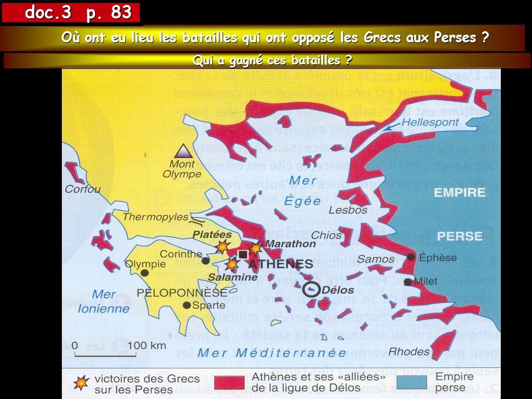 doc.3 p. 83 Où ont eu lieu les batailles qui ont opposé les Grecs aux Perses .