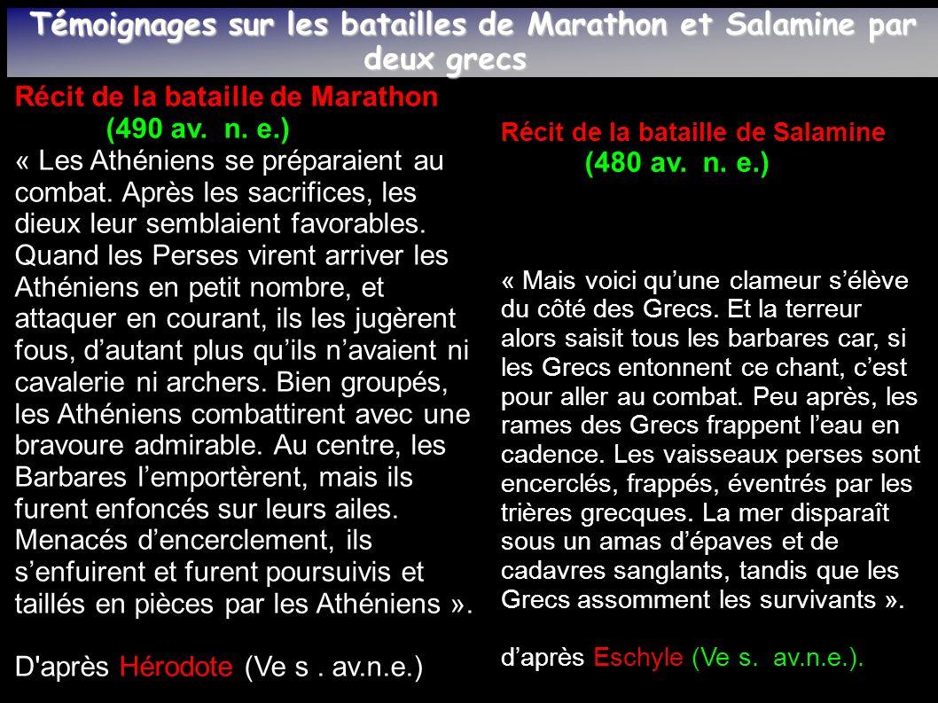 Témoignages sur les batailles de Marathon et Salamine par deux grecs