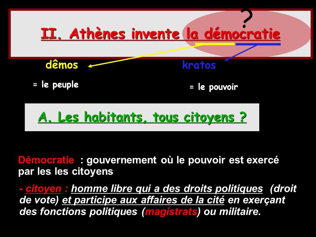 II. Athènes invente la démocratie A. Les habitants, tous citoyens