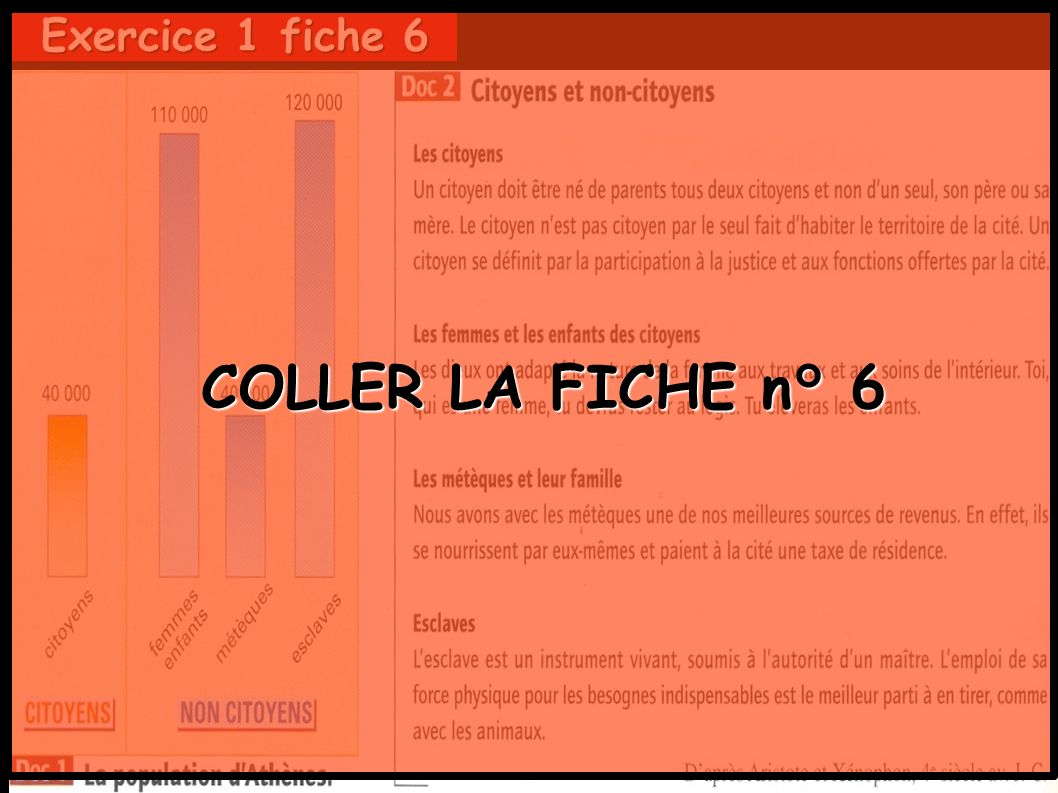 COLLER LA FICHE n° 6 Exercice 1 fiche 6