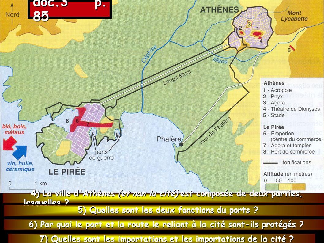 doc.3 p. 85 4) La ville d Athènes (et non la cité) est composée de deux parties, lesquelles 5) Quelles sont les deux fonctions du ports