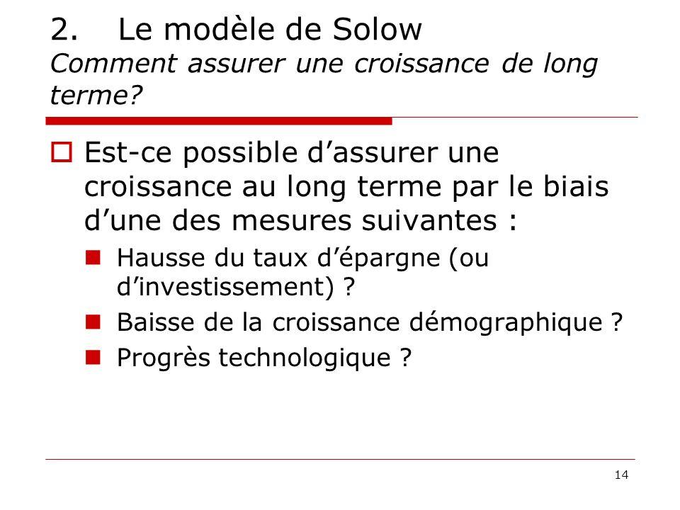 2. Le modèle de Solow Comment assurer une croissance de long terme