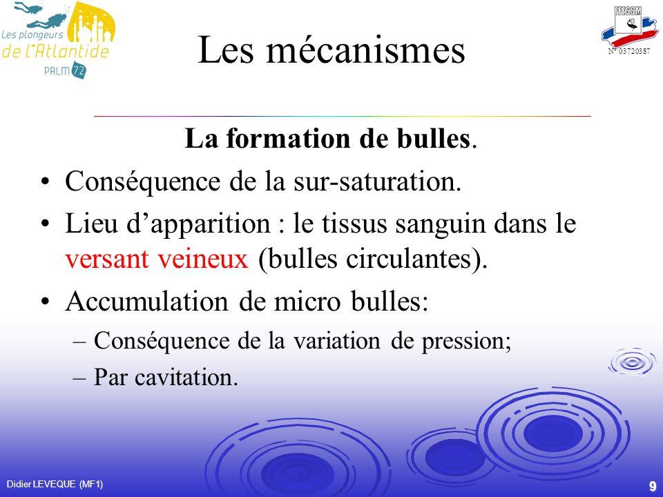 Les mécanismes La formation de bulles.