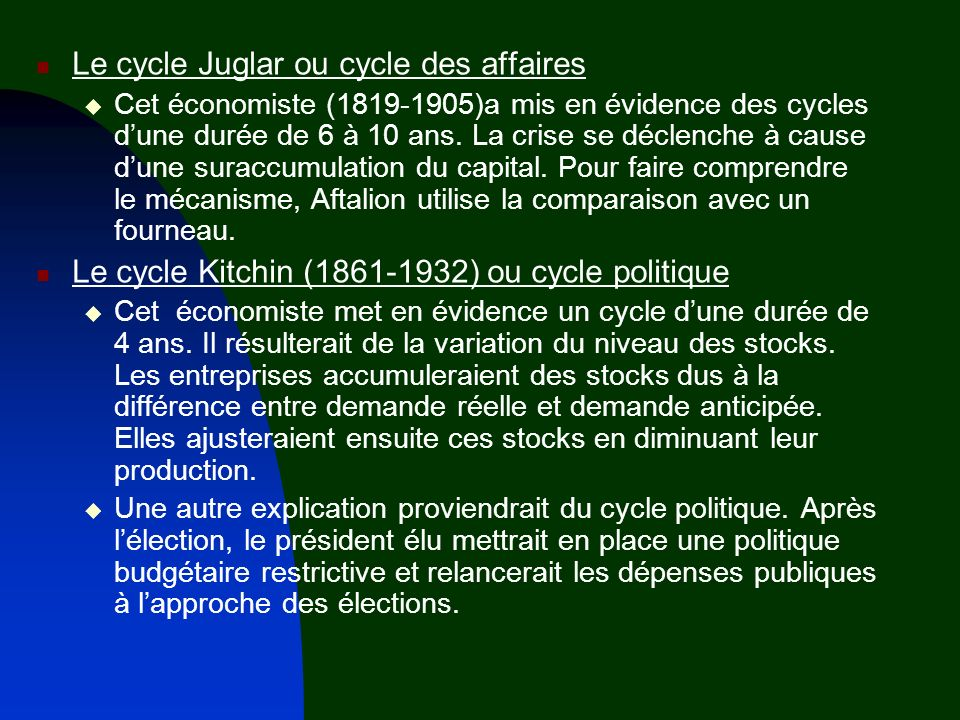 Le cycle Juglar ou cycle des affaires