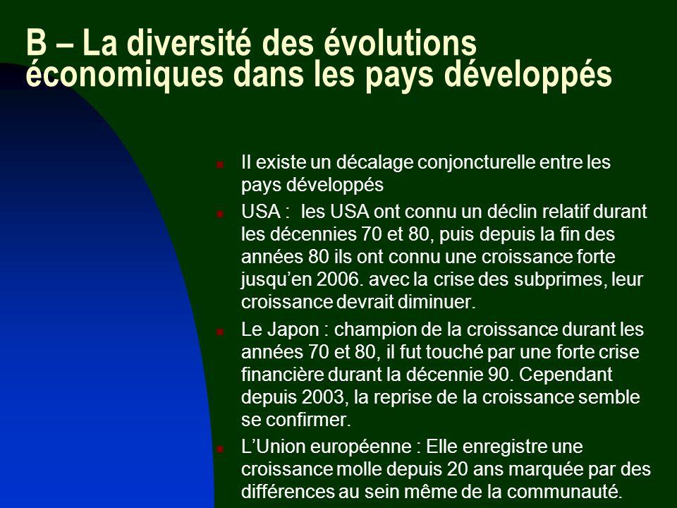B – La diversité des évolutions économiques dans les pays développés
