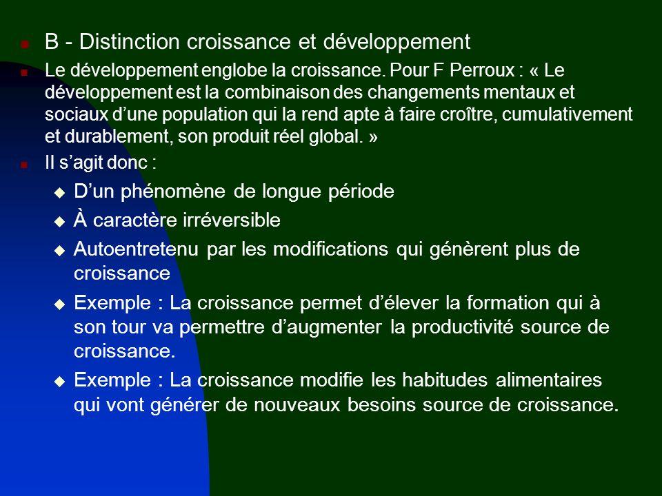 B - Distinction croissance et développement