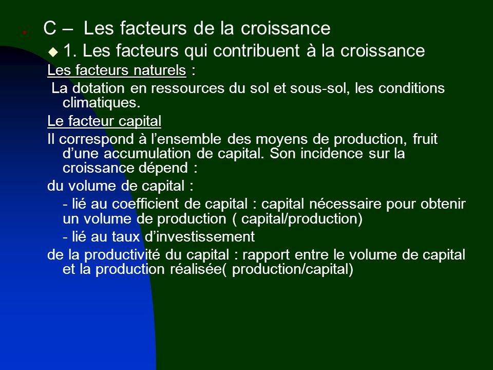 1. Les facteurs qui contribuent à la croissance