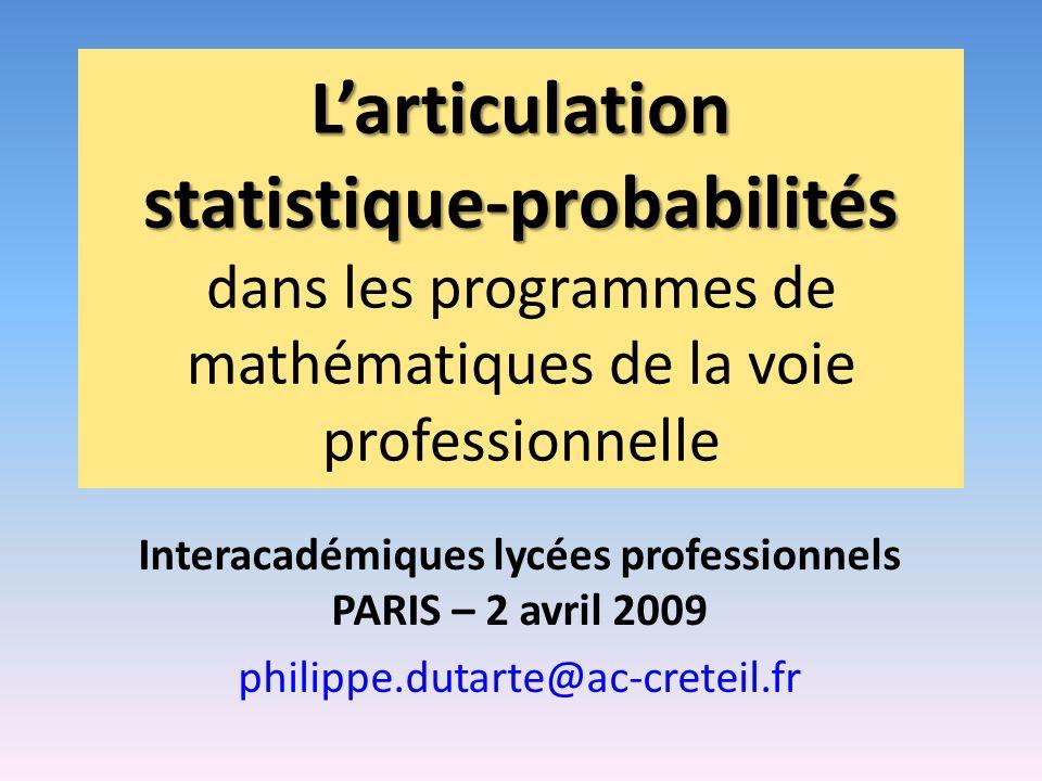 Interacadémiques lycées professionnels PARIS – 2 avril 2009